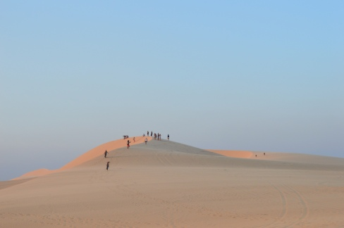 To get to the peak of the dunes, visitors are able to rent desert jeep onsite